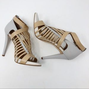 "CALVIN KLEIN GRAY & TAUPE CAGED 4.5"" HEELS"